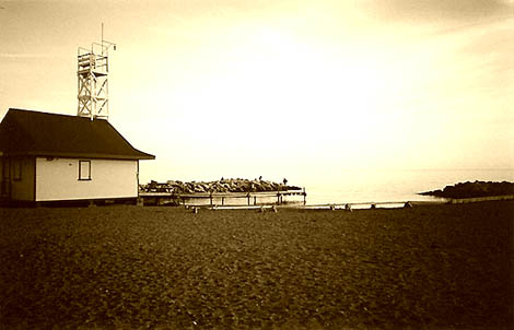 Life guard station Sepia